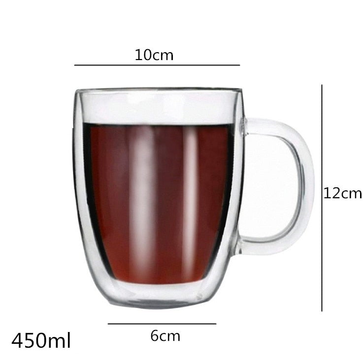 Multi-size Lead-free Double Wall Handmade Glass With Handle Heat Resistant Drink Cup Insulated Clear Glass Tea Coffee