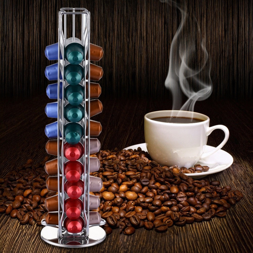 Neoteck 40 Pods Coffee Pod Holder Rotating Coffee Capsules Dispensing Tower Stand Fits Nespresso