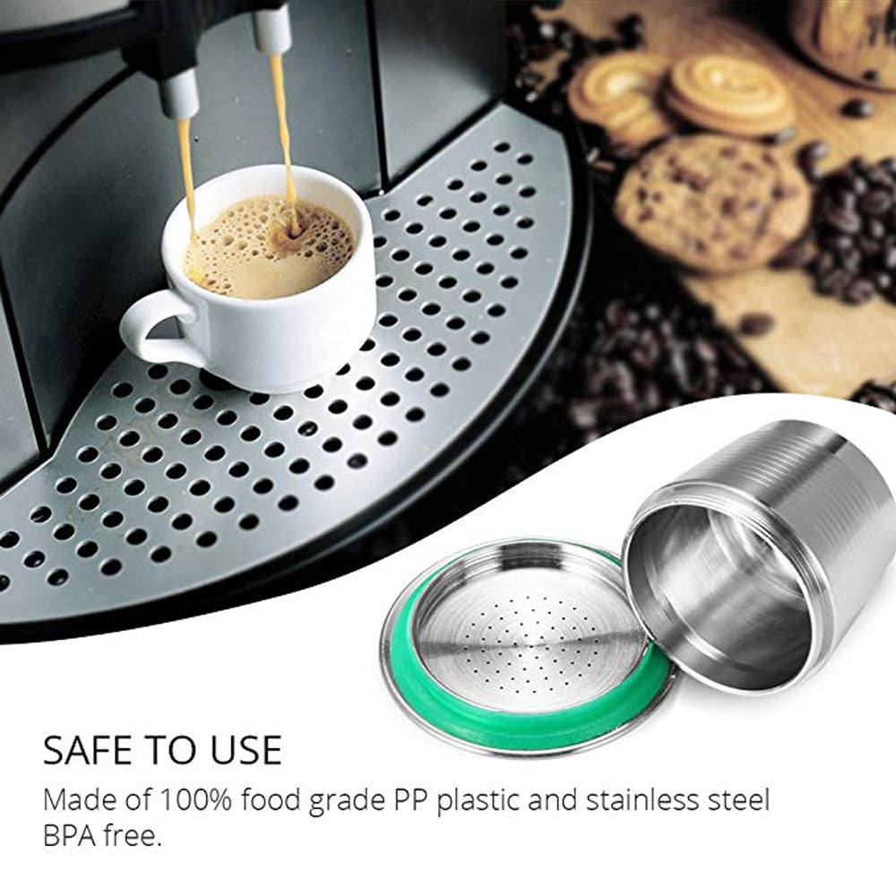 Nespresso Refillable Capsule Stainless Steel Permanent Coffee Filter Tamper Coffeeware for Nespresso Machines