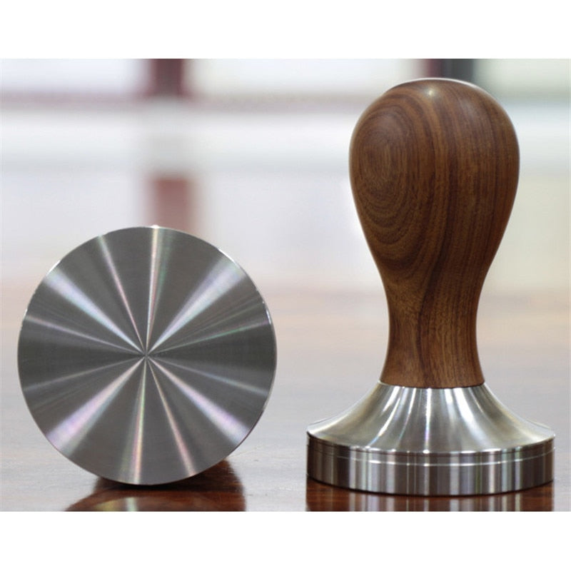 New Stainless Steel 57.5mm 58mm Wooden Handle Coffee Tamper Barista Espresso Tamper Coffee Bean