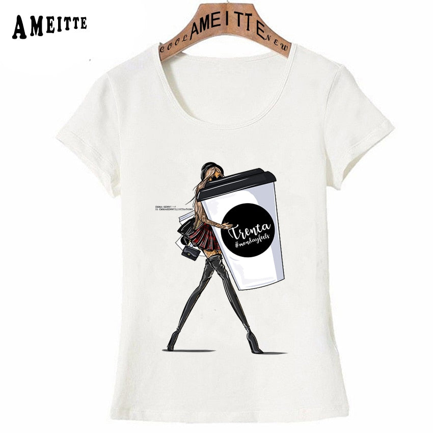 New Summer T-Shirt Cute Women Clothes Fashion Trend Paris Monday Feels Girl Casual Tops Big Cup Coffee Art Hipster Woman Tees