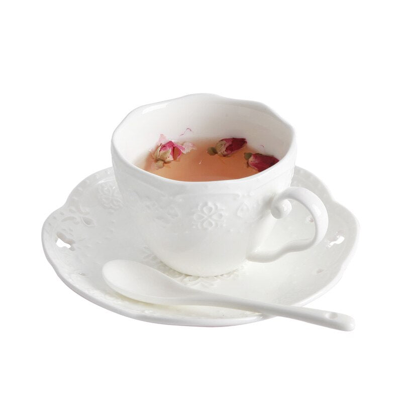 New arrival 3D Rilievo Lace European Style Handmade Ceramic Coffee Cup & Saucer with Spoon Bone