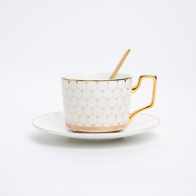 Nordic Bone China Coffee Cup Saucer Spoon Set 200ml British Cafe Porcelain Tea Cup Advanced