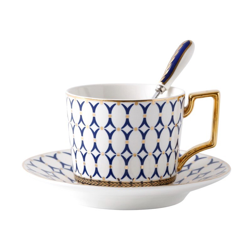 Nordic Bone China Coffee Cup Saucer Spoon Set 200ml British Tea Cup Porcelain Tea Set Advanced