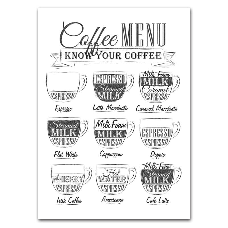 Nordic Coffee Menu Wall Pictures Art Print Black White Art Canvas Painting Cafe Shop Poster Wall Art Decor HD2616