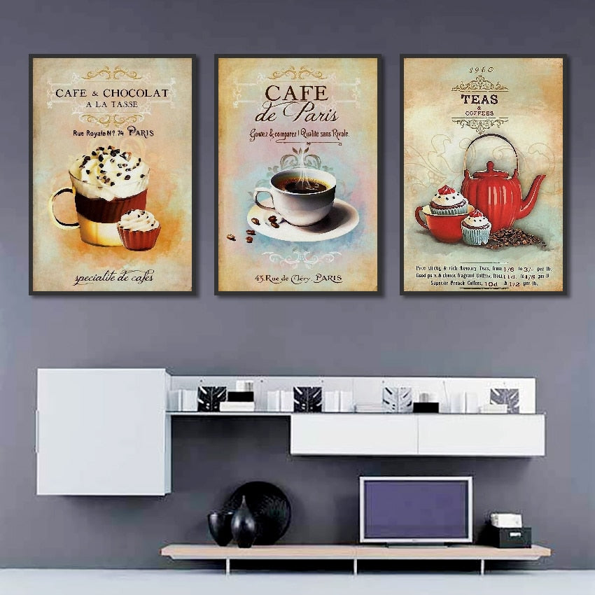 Nordic Poster Vintage Modern Minimalist Coffee Dessert Canvas painting Abstract Home Decoration Kitchen Wall Pictures Unframed