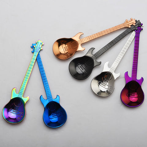OBR Stainless Steel Spoon Coffee Guitar Shape Music Theme Tea Stirring Spoon Small Ice Cream Dessert