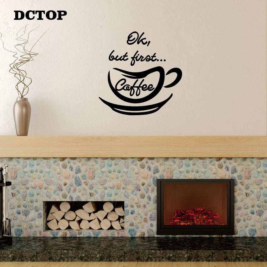 Ok But first Coffee Quote Wall Sticker Modern DIY Vinyl Decal Removable Home Decor for Kitchen Coffer Bar Store Wall Art