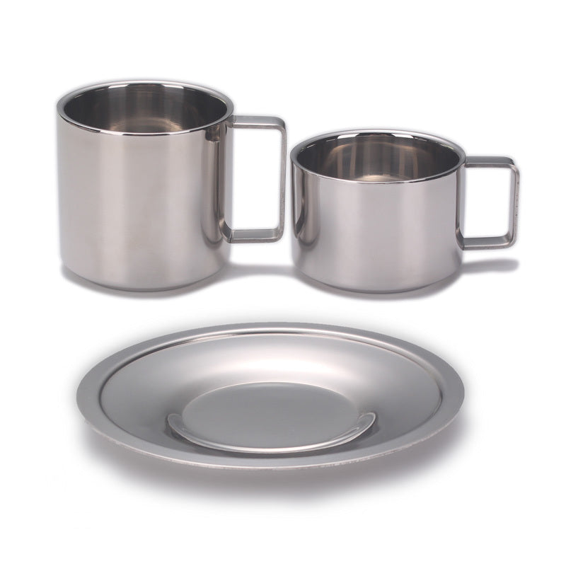 Originality Eur Coffee Cup With Dish Household Cafe Stainless Steel Tumble Suit Mirror Polishing