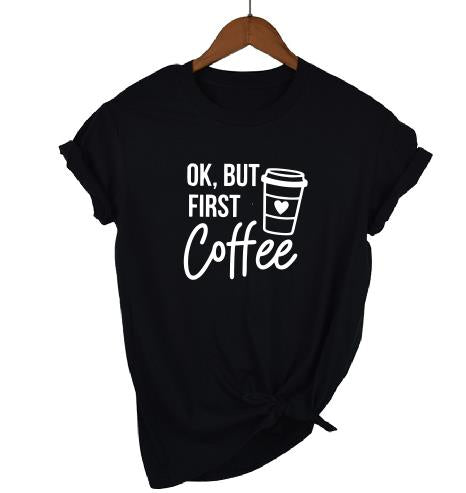 PADDY DESIGN Mommy and Me Okay But First Coffee Milk Matching Baby Shower T-shirt Casual Short Sleeve Women Top Tee Drop Ship