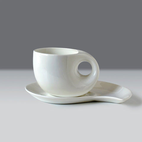Plain white bone china coffee cup and saucer set, thin novelty cups, creative water drop designed,