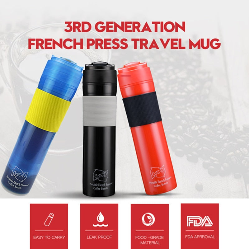 Portable French Press Coffe Bottle Plastic Outdoor Vacuum Coffee Plunger Filter Coffee Cup Travel