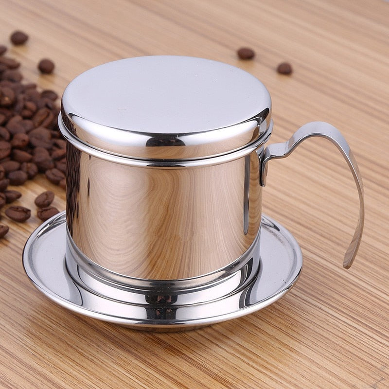 Portable Stainless Steel Vietnam Coffee Dripper Reusable Filter Vietnam Coffee Drip Pot v60