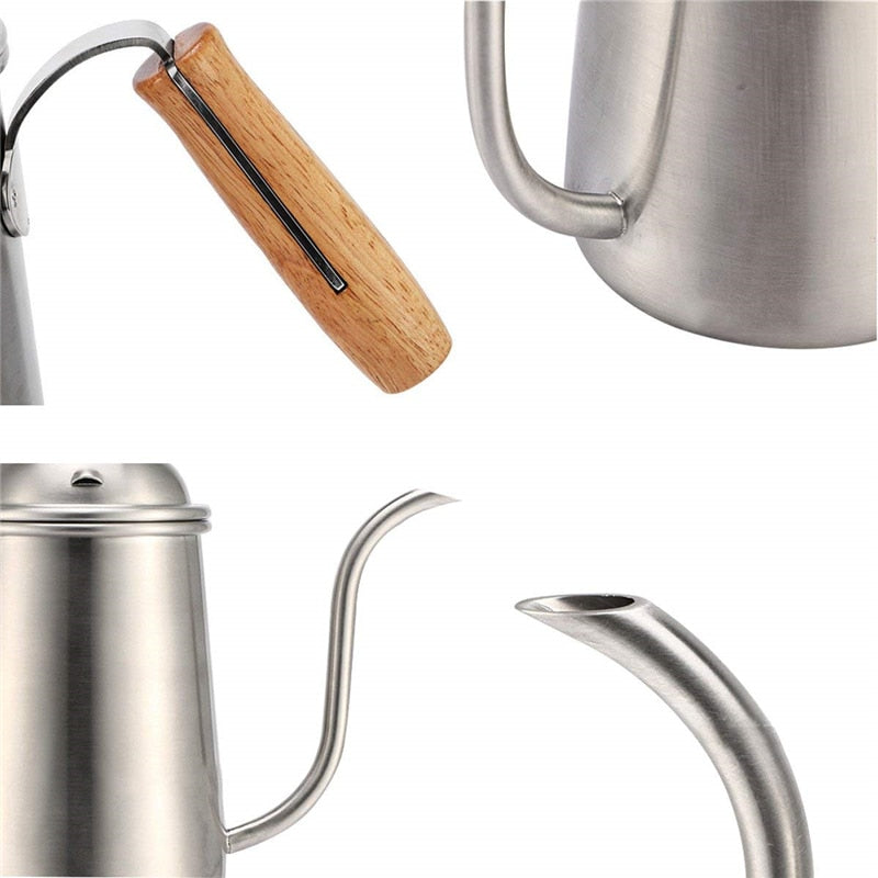 ROKENE Professional Coffee Drip Kettle Stainless Steel Pour Over Coffee Kettle with Wood Handle