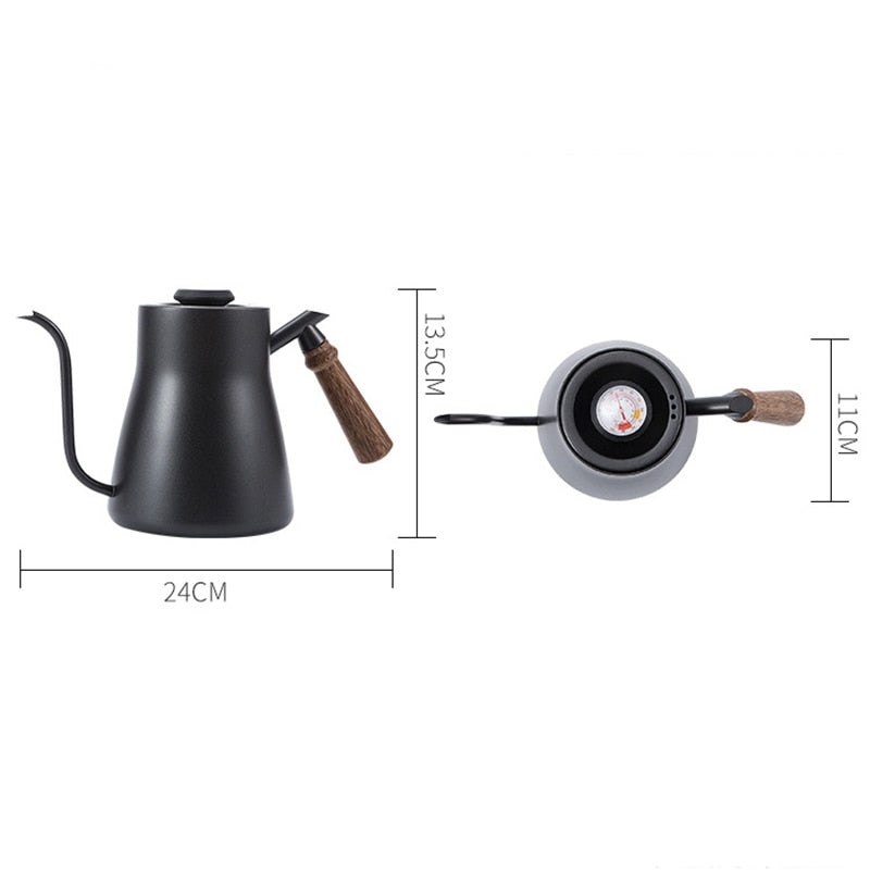 ROKENE Stainless Steel Coffee Pots Built-in Thermometer 850ML Coffee Drip Kettle Pour Over Coffee