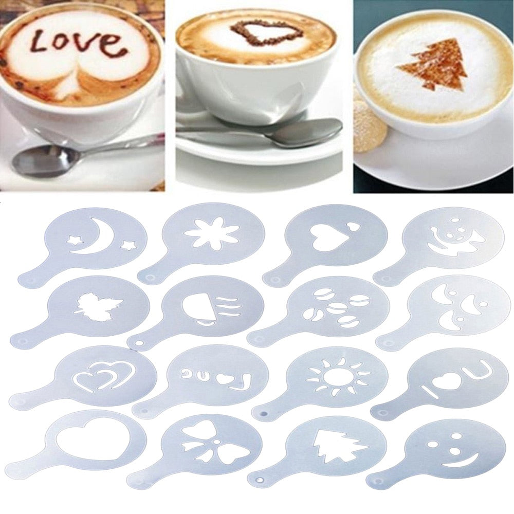 ROSENICE 16pcs Coffee Latte Molds Cappuccino Coffee Art Stencils Template Strew Flowers Pad Duster