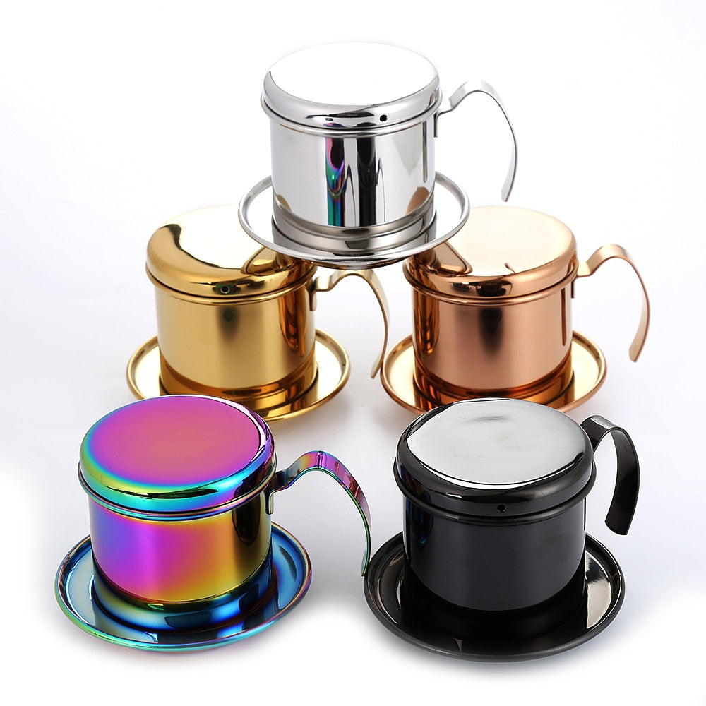 Realand Top Stainless Steel Vietnam Coffee Pour Over Dripper Maker Filter Single Cup Brewer Press
