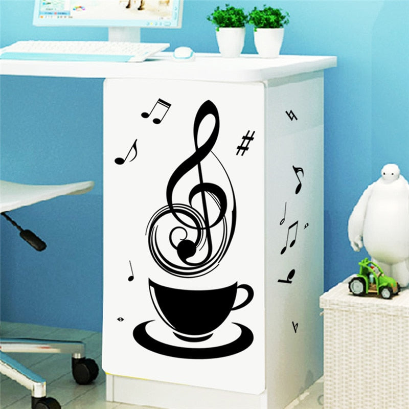 Relaxing Music Tea Coffee Cup black DIY wall stickers public office store kitchen decorative home