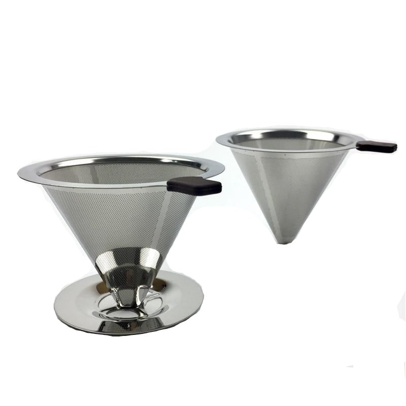 Reusable Coffee Filter Stainless Steel Holder Metal Mesh Funnel Baskets Drip Coffee Filters