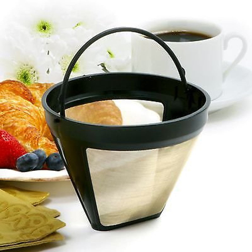 Reusable Coffee Filters Dripper Stainless Steel 10-12 Cup Permanent Coffee Maker Refillable Basket Handles Washable Cafe Tools