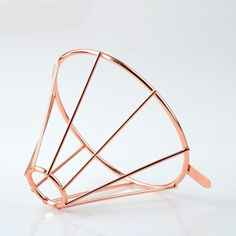 Rose Gold Metal Reusable Coffee Filter Holder Coppper Brew Drip Coffee Filters Accessories Funnel