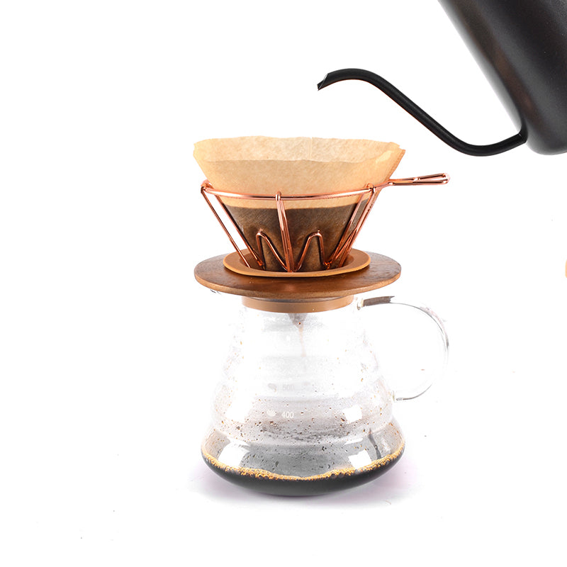 Rose Gold V60 1-4 Cups Coffee Filter Holder Metal Copper Brew Drip Silver Coffee Filters Accessories