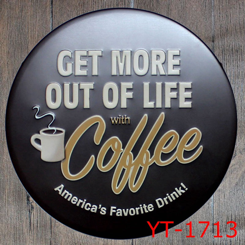 Round Metal Tin Sign Coffee Pub Club Gallery Poster Tips Vintage Plaque Wall Cafe Decor Plate 30 CM