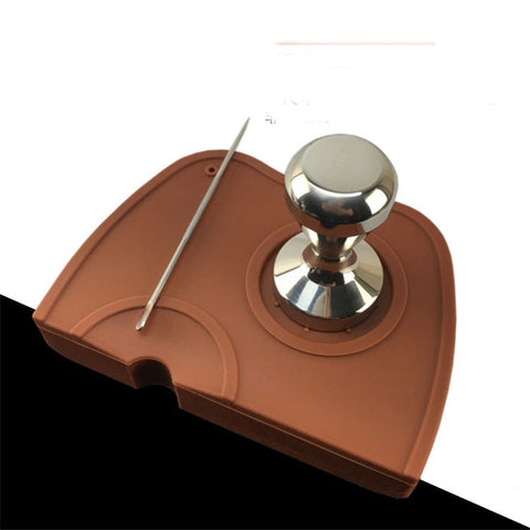 S/M Size Silicone Coffee Tamper Mat Holder Espresso Maker Support Base Non-Slip Flexible Corner