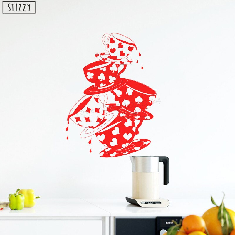 STIZZY Wall Decal Creative Tea Cups Pattern Kitchen Vinyl Wall Stickers Cafe Window Art Mural Coffee