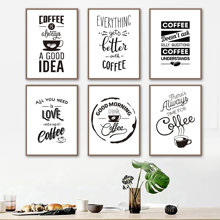 Special Coffee Life Draw Quote Wall Art Black & White Painting Canvas Pictures Vintage Poster Nordic Prints Living Room Home Decor