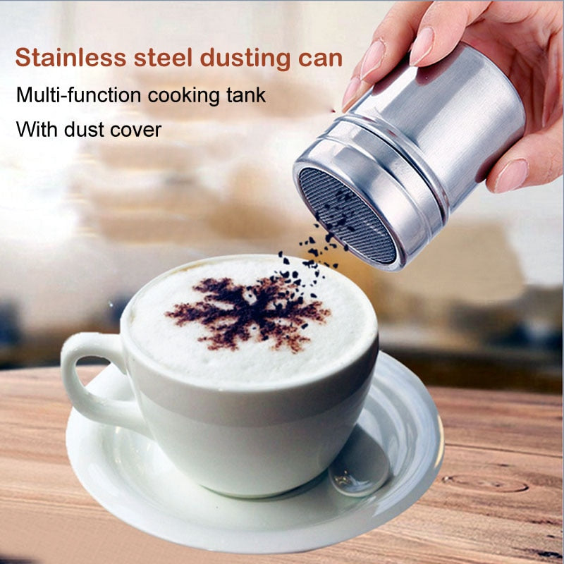 Stainless Chocolate Shaker Cocoa Flour Icing Sugar Powder Coffee sprinkler fancy Fine screen