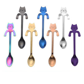 Stainless Steel Cartoon Cat Spoon Long Handle  Flatware Coffee Drinking Tools Kitchen Gadget