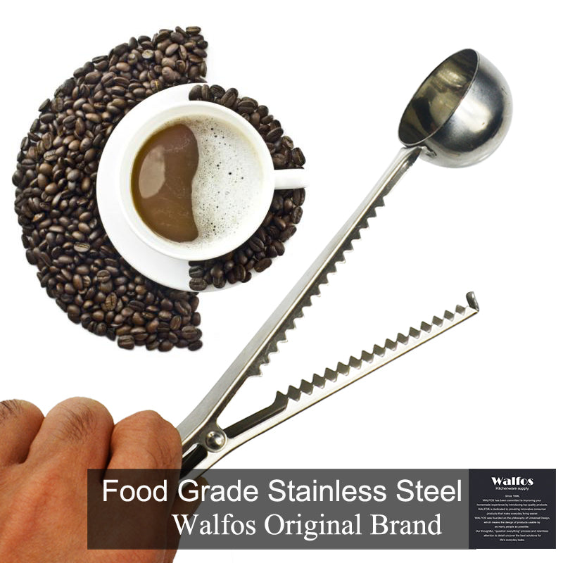 Stainless Steel Coffee Scoop with Bag Clip Sealing Tea Measuring Spoon Kitchen Tool coffee