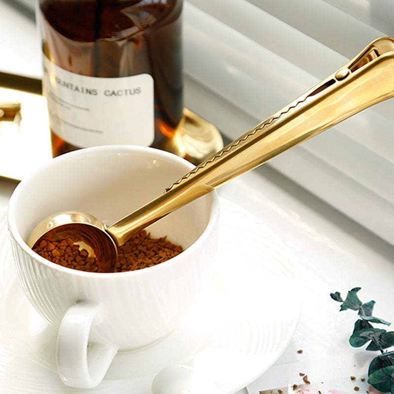 Stainless Steel Coffee Spoon Clip Gold Silver Coffee Tea Measure Scoop Metal Measuring Spoon with