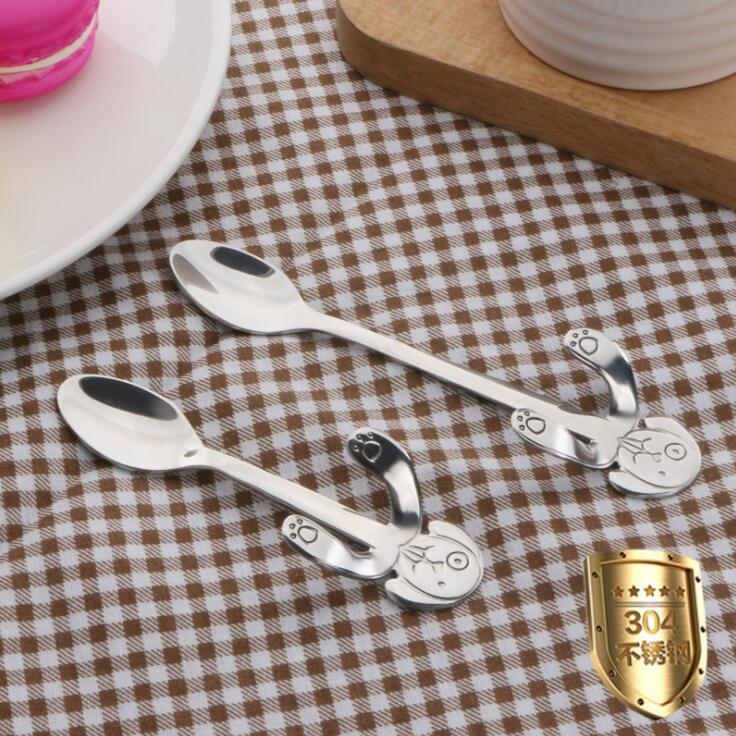 Stainless Steel Coffee Spoon Mini Dog Tea Scoop Long Handle Portable Spoon Hanging Cup Honey