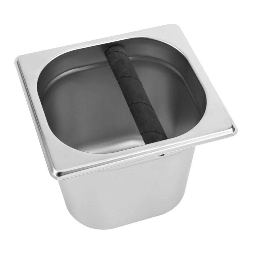Stainless Steel Espresso Knock Box Container With Bar For Residue Bucket Grind Waste Bin Coffee