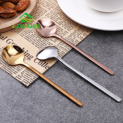Stainless Steel Long Handle Stirring Spoon Small Spoon Seasoning Coffee Spoon Long Creative Ice