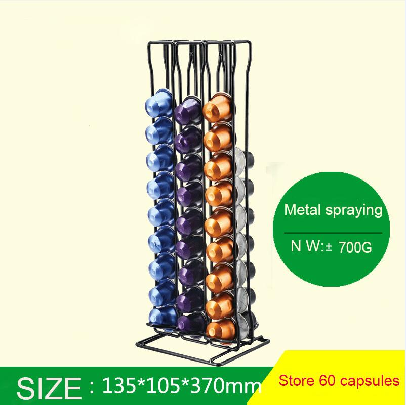 Stainless Steel Metal Nespresso Capsule Coffee Pod Holder Tower Stand Display Rack Storage Capsule