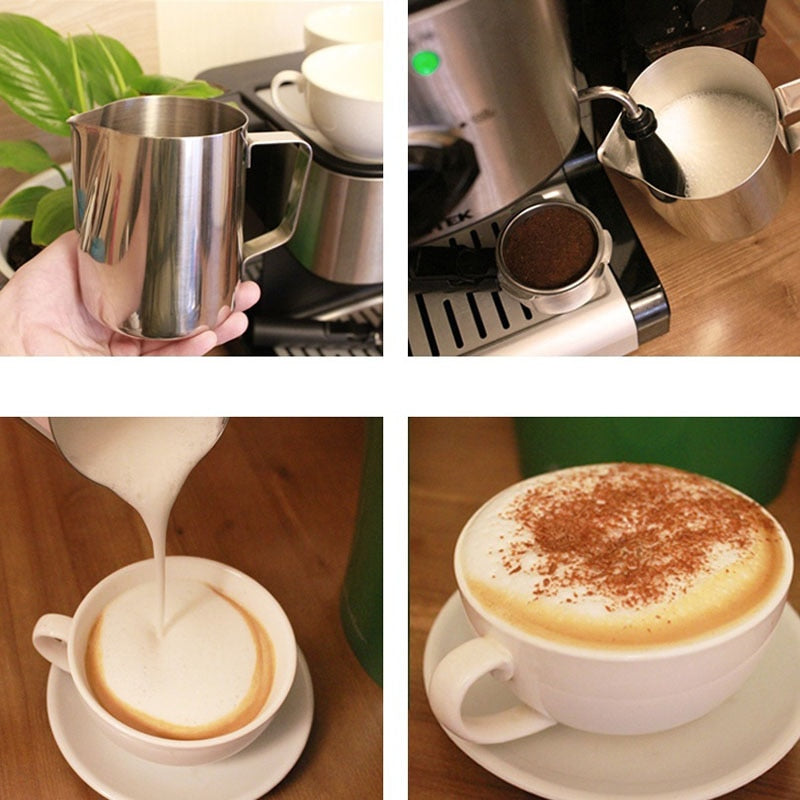Stainless Steel Milk Frothing Jug Cream Cup Coffee Creamer Latte Art Pitcher With Spout Durable