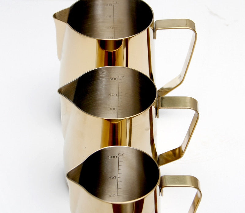 Stainless Steel Milk frothing jug Golden Color Espresso Coffee Pitcher Barista Craft Coffee Latte