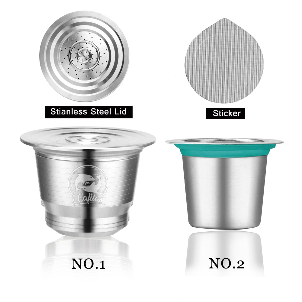 Stainless Steel Refillable Nespresso Coffee Capsule Two Type Reusable Coffee pods with Disposible Stickers Foils Coffee Maker