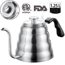 Stainless Steel Tea Coffee Kettle with Thermometer, Gooseneck Thin Spout for Pour Over Coffee Pot,