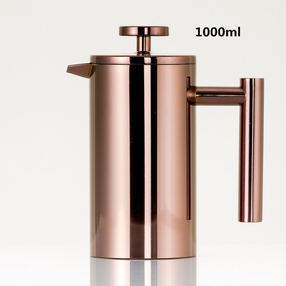 Stainless steel 304 Double Wall   Coffee Maker French Press Tea Pot With Filter 1000ml large