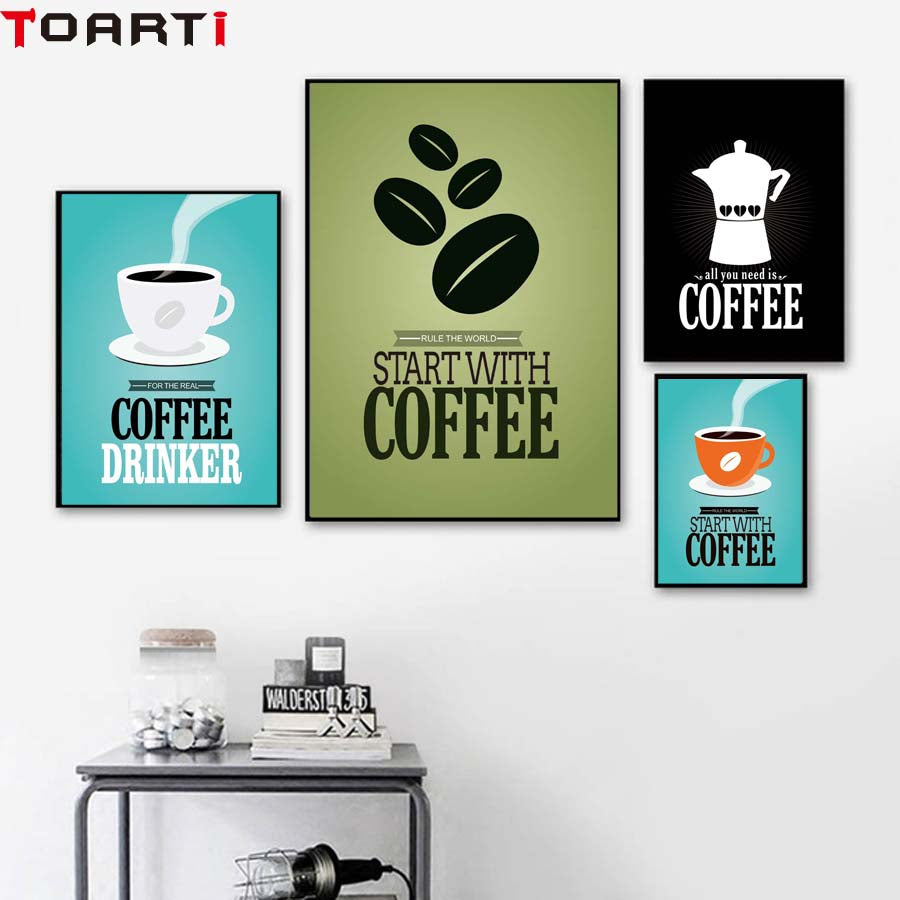 Start With Coffee Vintage Poster&Prints Retro Canvas Painting For Kitchen Coffee Shop Wall Picture For Dining/living Room Decora