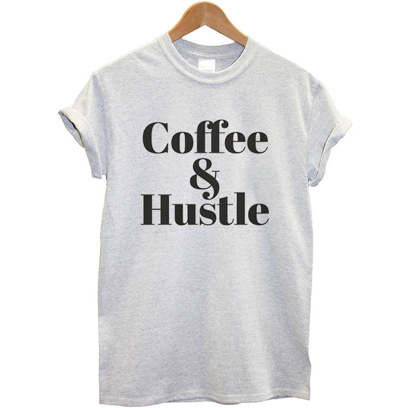 Summer Style T-shirts Cotton Women Fashion Letter Coffee & Hustle Printed T Shirt Women Casual Short Sleeve O-neck T-shirt Brand