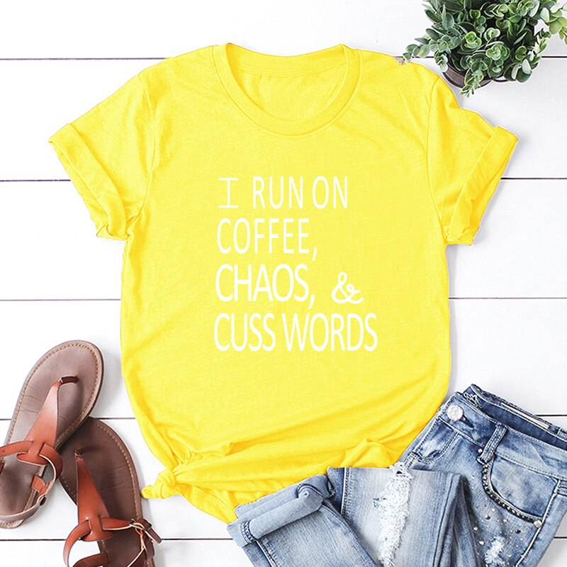 T Shirt Women T-shirt Short Sleeves O Neck Letters Print RUN ON COFFEE CHAOS Plus Size Cotton Tees Shirts Casual Summer Top 2019