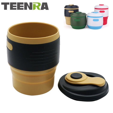 TEENRA 1Pcs Silicone Collapsible Coffee Cup Resuable Travel Coffee Cup For Camping Leak Proof Fold