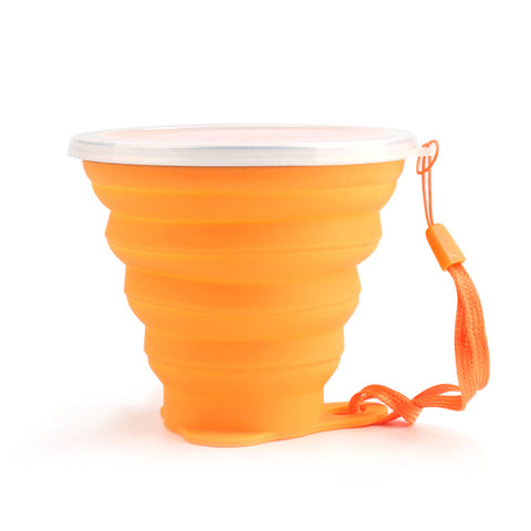 Ultra-thin Silicone Folding Cup + Dstproof Cover Outdoor Coffee Cups Children Available Travel