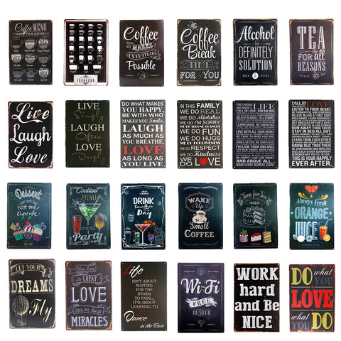 Vintage Metal Tin signs Coffee Menu Tea Wi- Fi Bar Beer Art Posters Home Decor Restaurant Coffee Cafe Wall Plaques