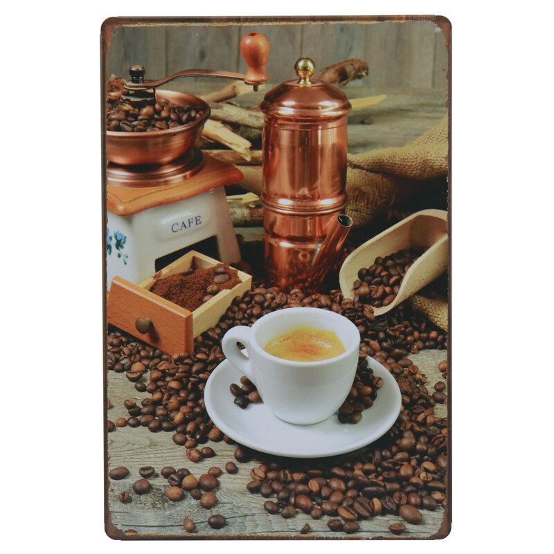 Vintage Metal Tintin Sign Plaque Tin Signs Drink Fresh Brewed Coffee Cafe Bar Poster Wall Decor Painting Stickers 8x12 Inch H71